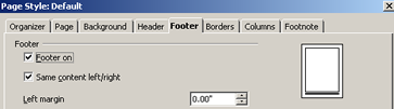 how to insert consecutive page numbers in footer open office